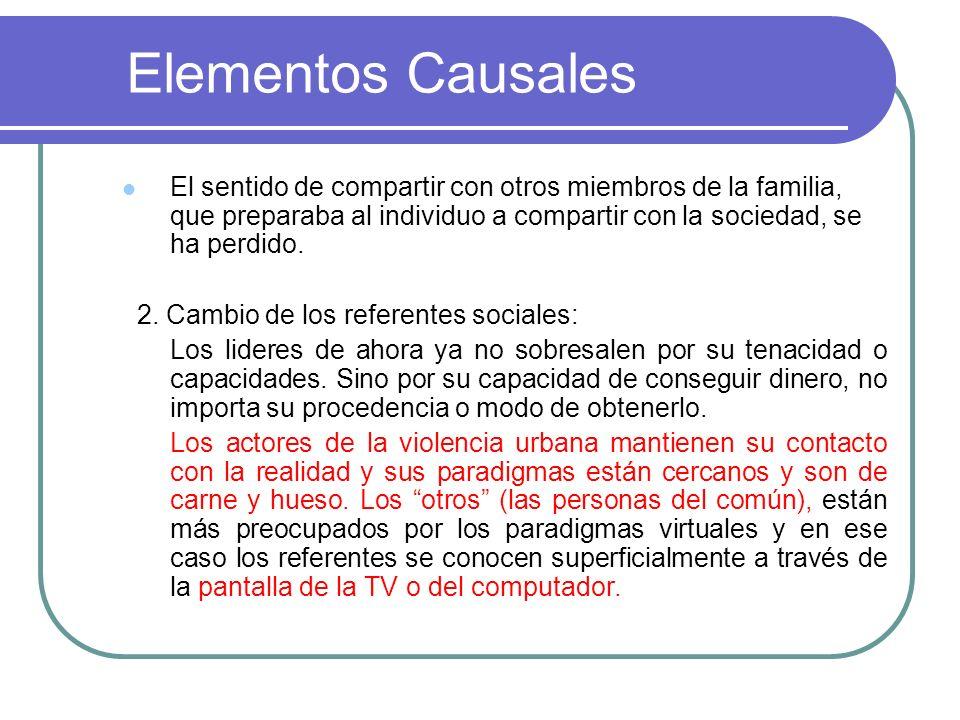 Elementos Causales El sentido de compartir con otros miembros de la familia, que preparaba al individuo a compartir con la sociedad, se ha perdido.