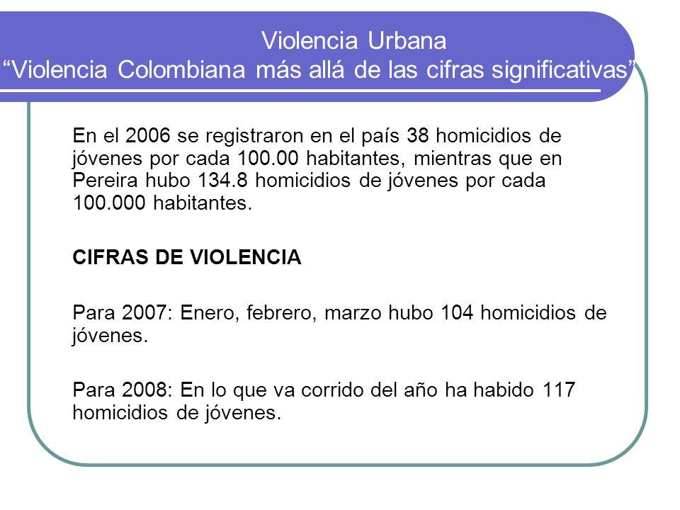 Violencia Urbana Violencia Colombiana más allá de las cifras significativas