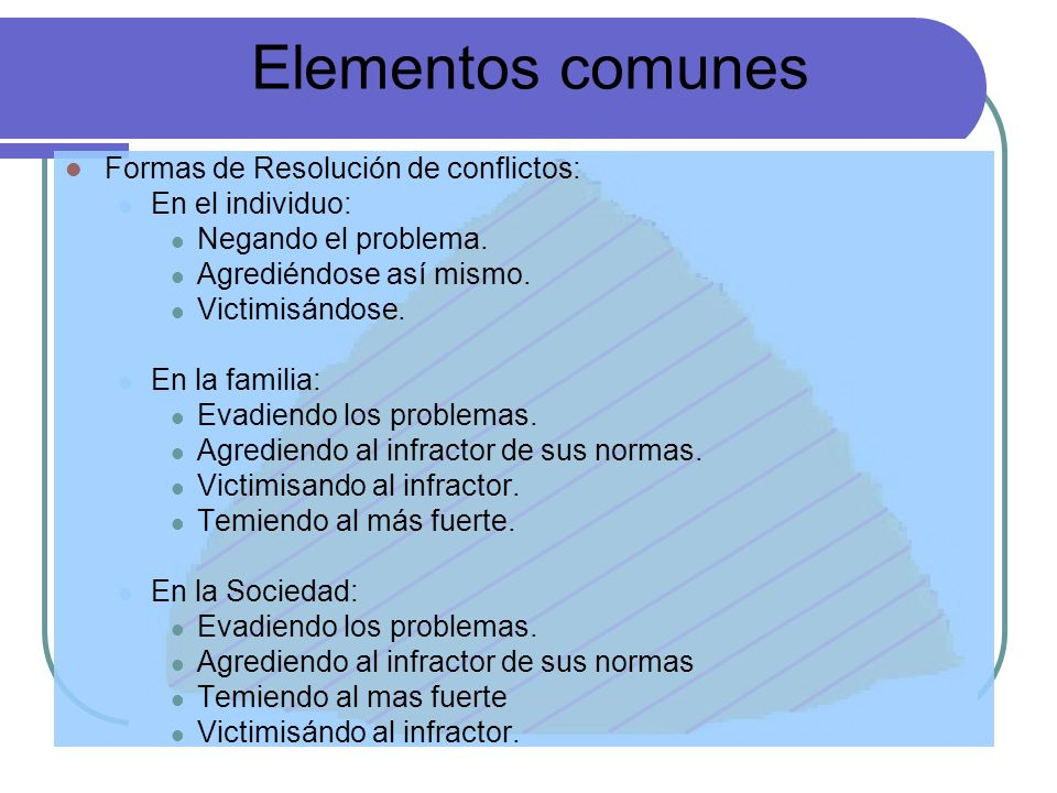 Elementos comunes Formas de Resolución de conflictos: En el individuo: