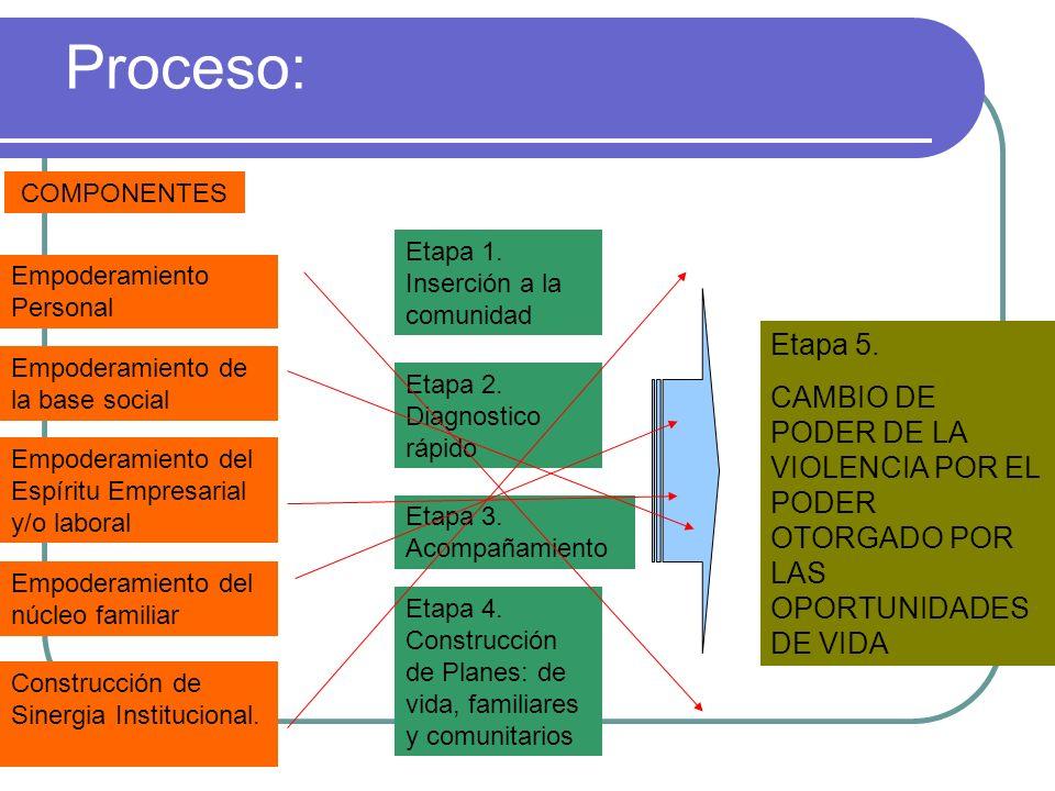 Proceso:COMPONENTES. Etapa 1. Inserción a la comunidad. Empoderamiento Personal. Etapa 5.
