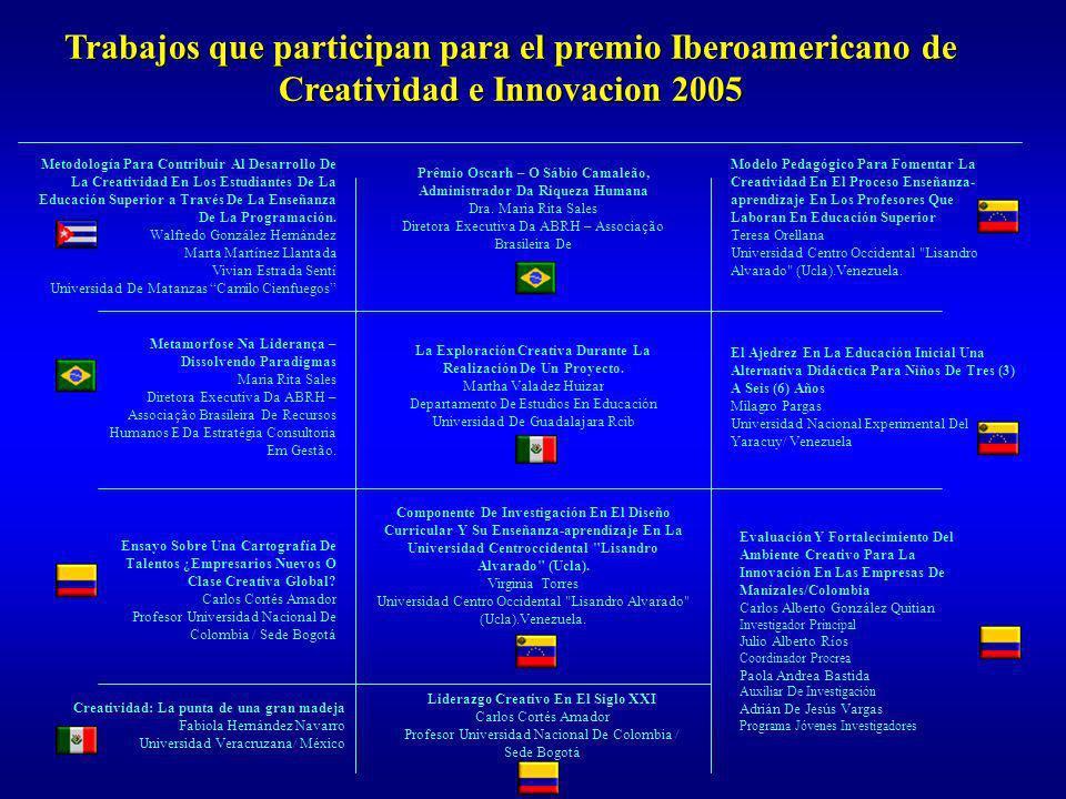Trabajos que participan para el premio Iberoamericano de Creatividad e Innovacion 2005