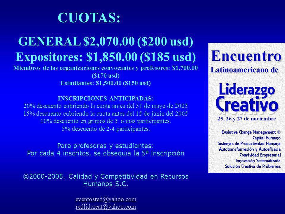 CUOTAS: GENERAL $2,070.00 ($200 usd) Expositores: $1,850.00 ($185 usd)