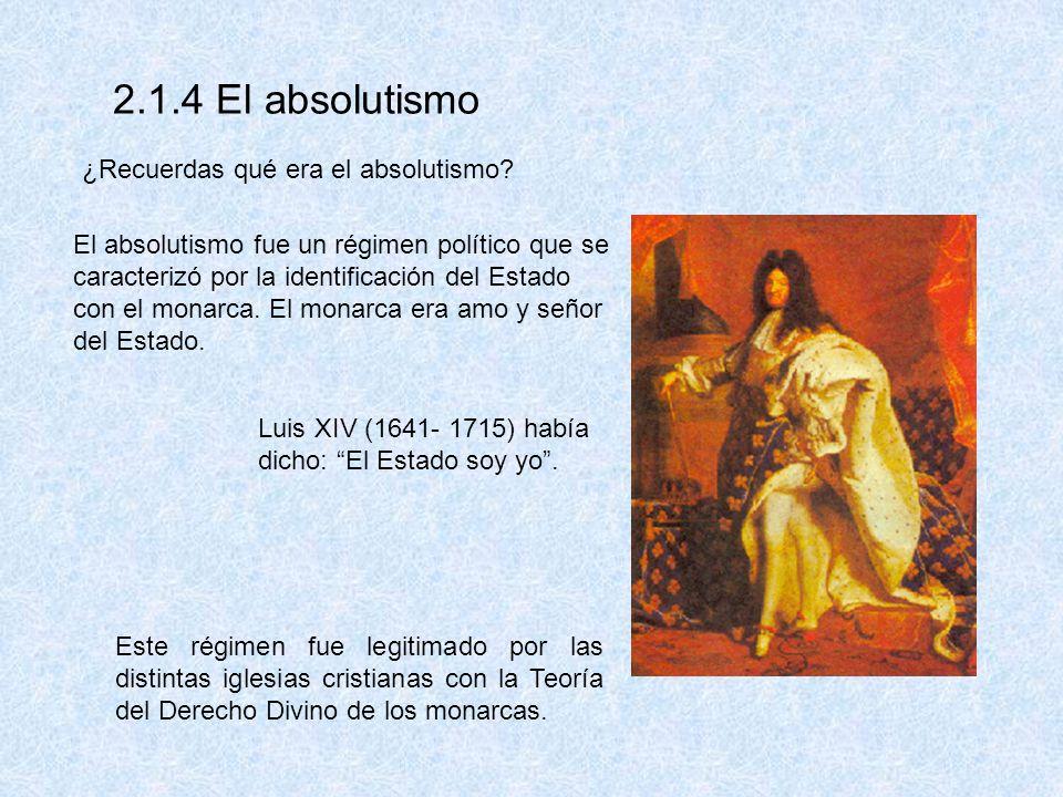 2.1.4 El absolutismo ¿Recuerdas qué era el absolutismo