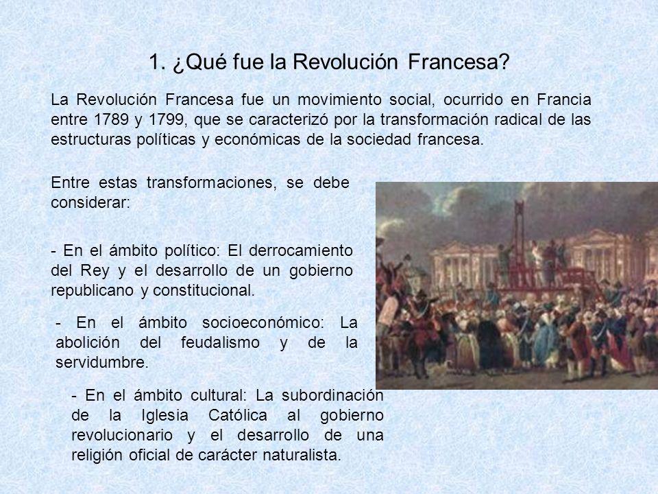 1. ¿Qué fue la Revolución Francesa