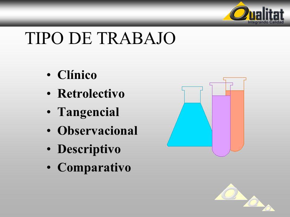 TIPO DE TRABAJO Clínico Retrolectivo Tangencial Observacional