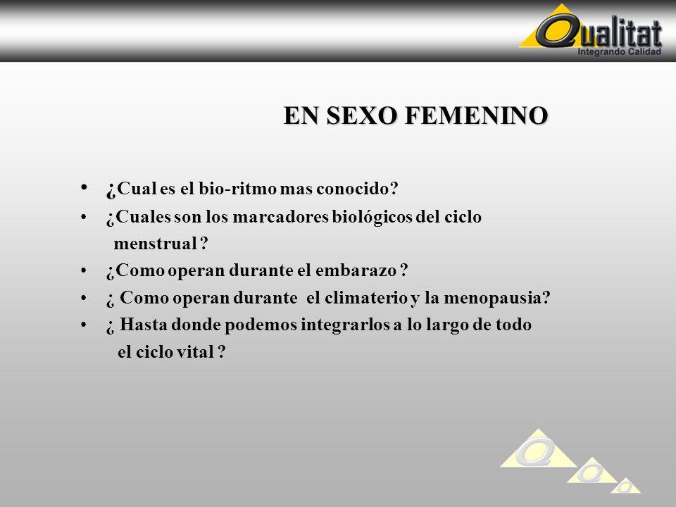 EN SEXO FEMENINO ¿Cual es el bio-ritmo mas conocido