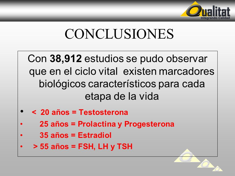CONCLUSIONES Con 38,912 estudios se pudo observar que en el ciclo vital existen marcadores biológicos característicos para cada etapa de la vida.