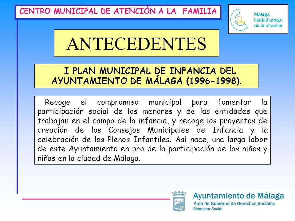 I PLAN MUNICIPAL DE INFANCIA DEL AYUNTAMIENTO DE MÁLAGA (1996-1998).