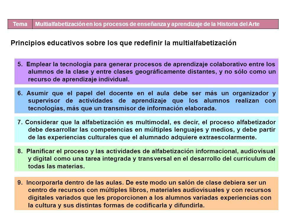 Principios educativos sobre los que redefinir la multialfabetización