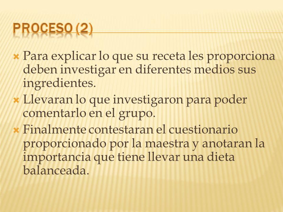 Proceso (2) Para explicar lo que su receta les proporciona deben investigar en diferentes medios sus ingredientes.