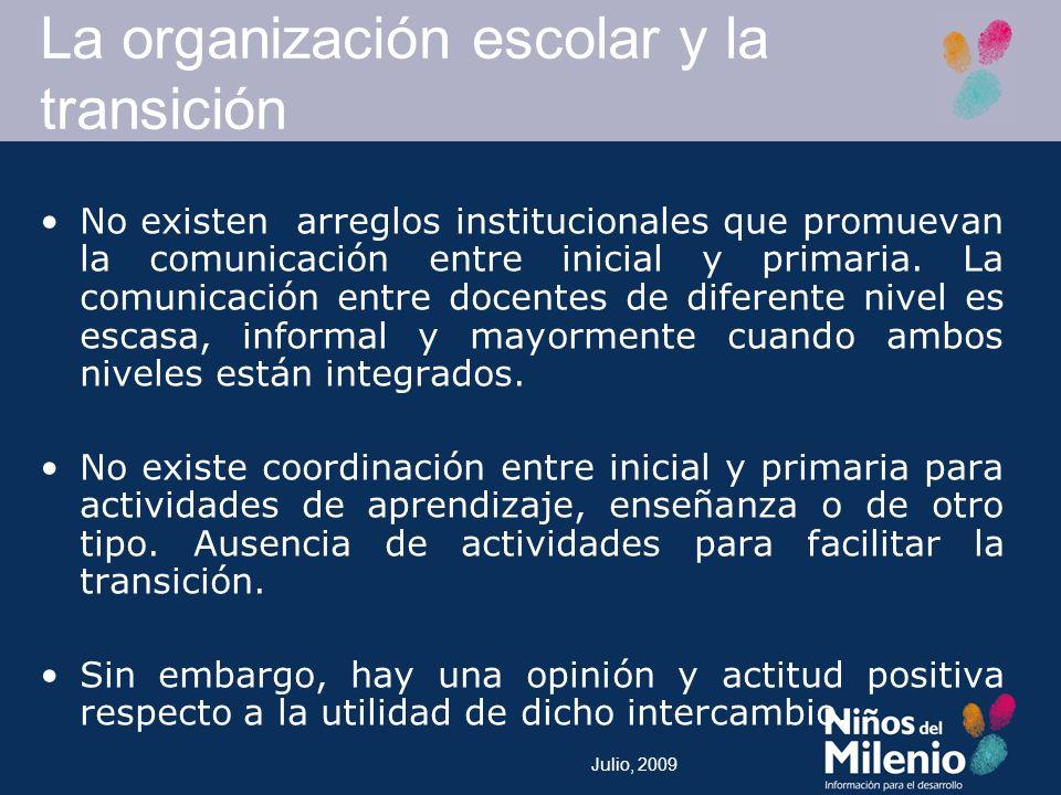 La organización escolar y la transición