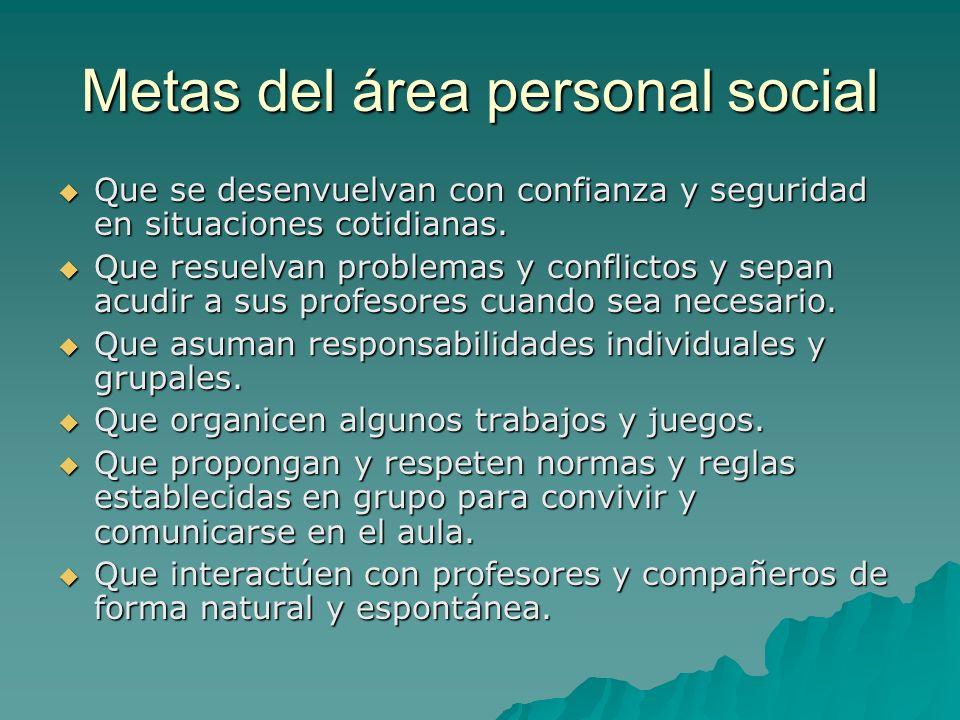 Metas del área personal social