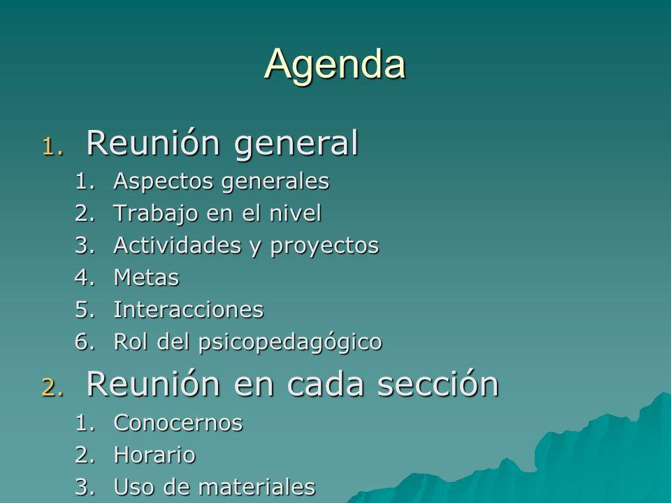 Agenda Reunión general Reunión en cada sección Aspectos generales