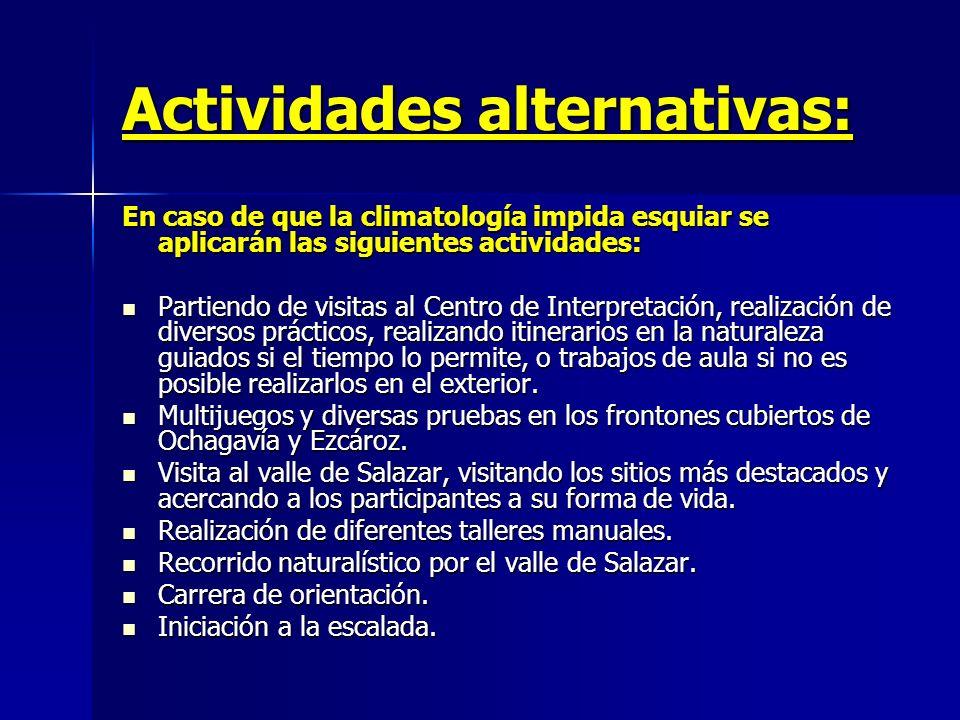 Actividades alternativas: