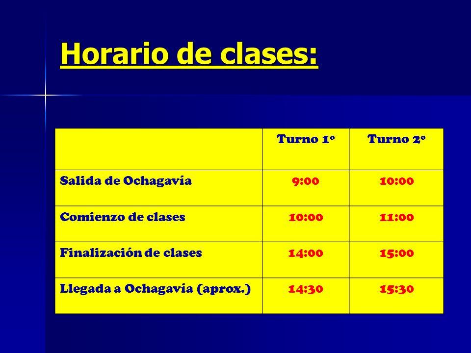 Horario de clases: Turno 1º Turno 2º Salida de Ochagavía 9:00 10:00