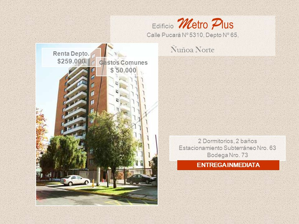 Ñuñoa Norte Edificio Metro Plus $259.000 $ 50.000