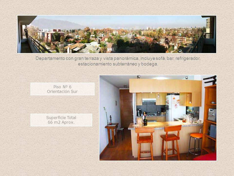 Departamento con gran terraza y vista panorámica, incluye sofá, bar, refrigerador, estacionamiento subterráneo y bodega.