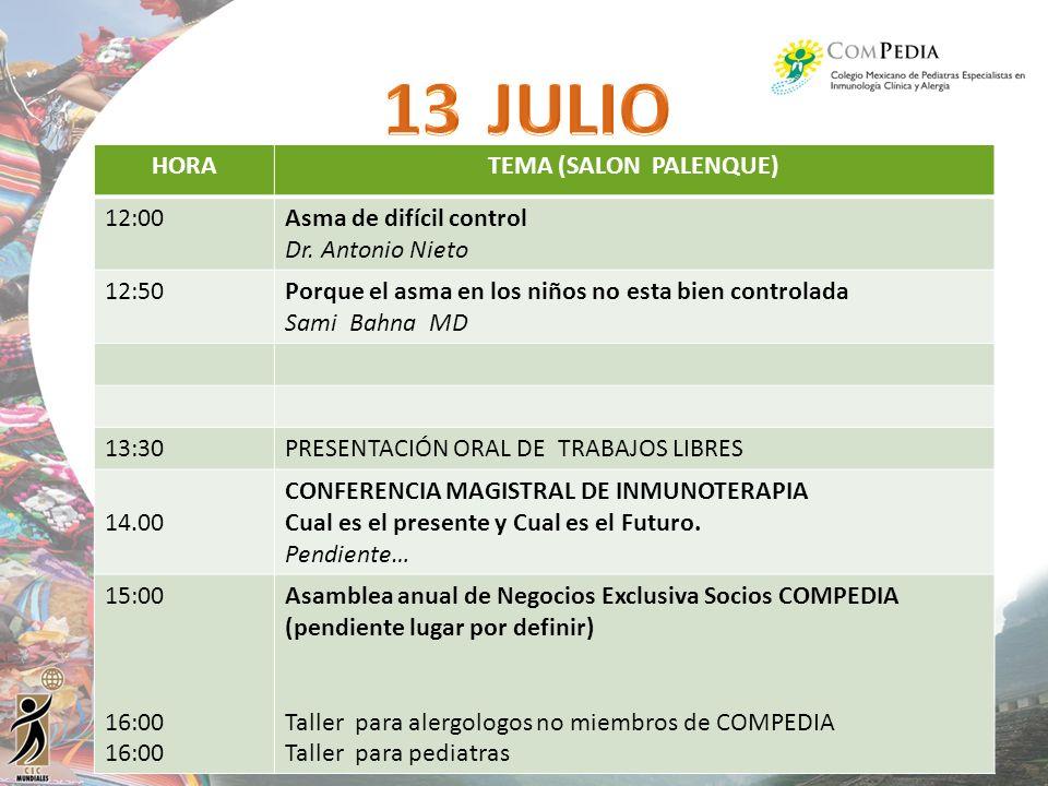 JULIO HORA TEMA (SALON PALENQUE) 12:00 Asma de difícil control