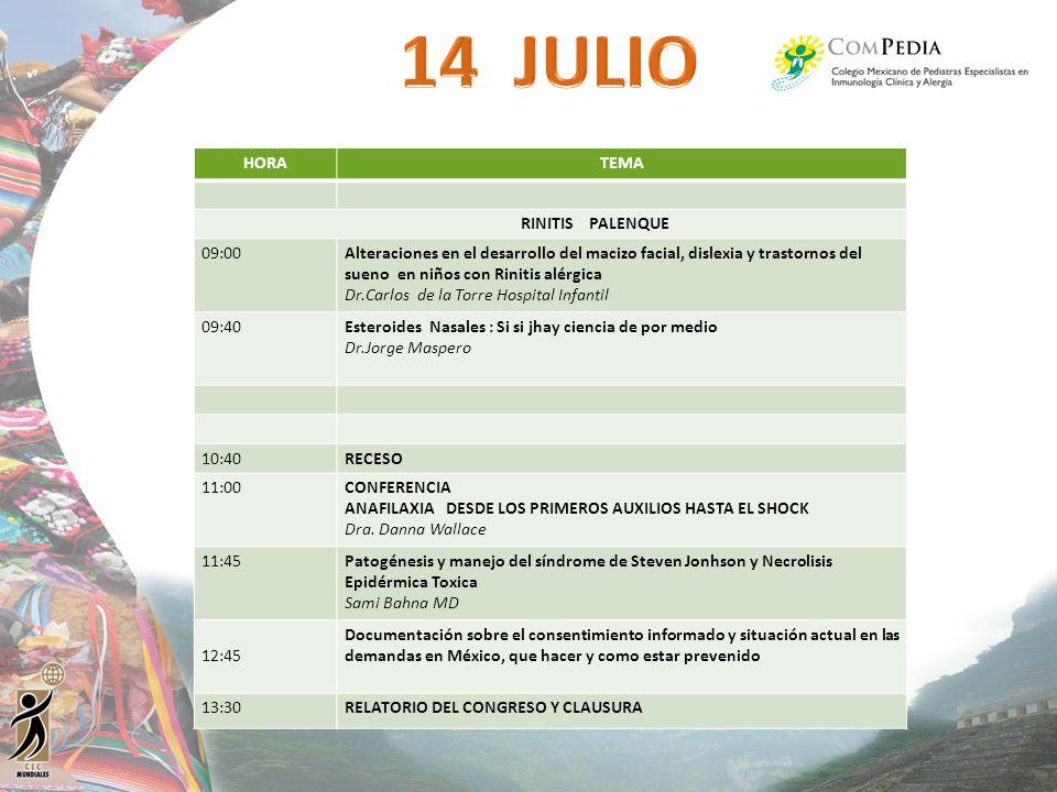 14 JULIO HORA TEMA RINITIS PALENQUE 09:00