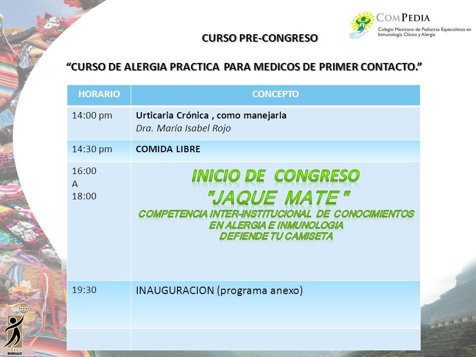 INICIO DE CONGRESO JAQUE MATE CURSO PRE-CONGRESO