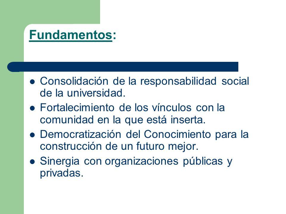Fundamentos: Consolidación de la responsabilidad social de la universidad. Fortalecimiento de los vínculos con la comunidad en la que está inserta.