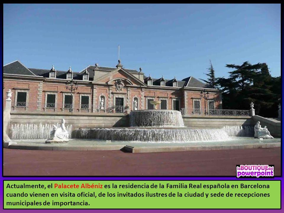 Actualmente, el Palacete Albéniz es la residencia de la Familia Real española en Barcelona cuando vienen en visita oficial, de los invitados ilustres de la ciudad y sede de recepciones municipales de importancia.