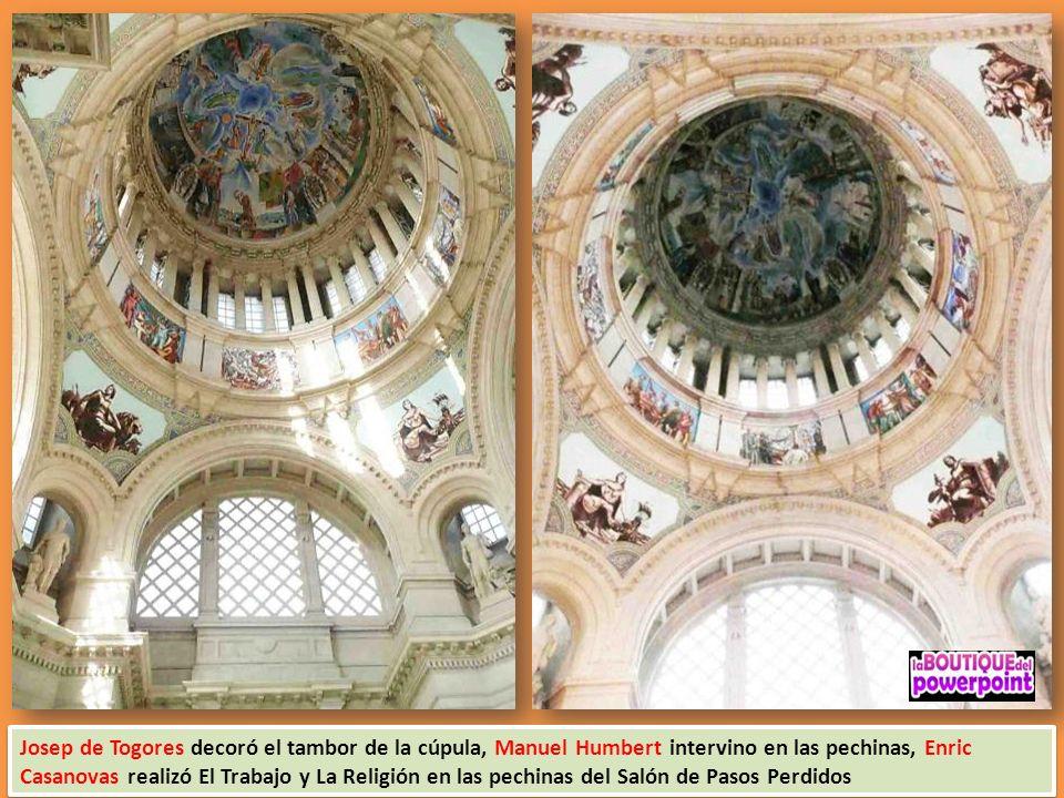 Josep de Togores decoró el tambor de la cúpula, Manuel Humbert intervino en las pechinas, Enric Casanovas realizó El Trabajo y La Religión en las pechinas del Salón de Pasos Perdidos