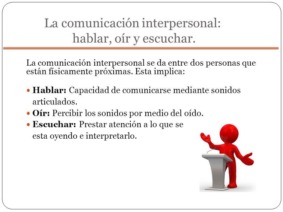 La comunicación interpersonal: hablar, oír y escuchar.