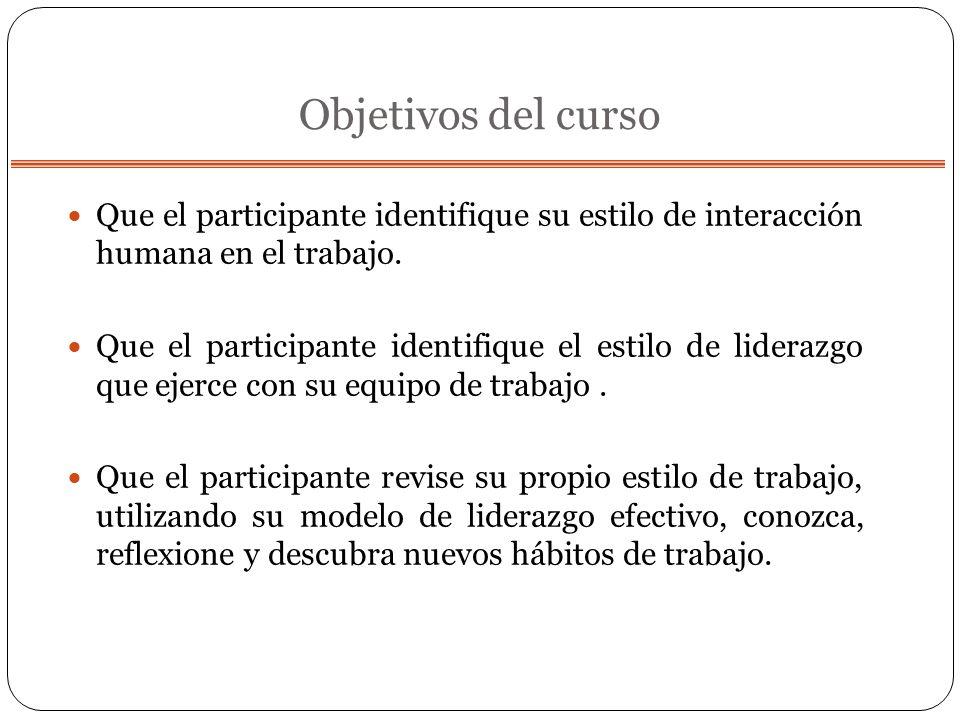 Objetivos del curso Que el participante identifique su estilo de interacción humana en el trabajo.