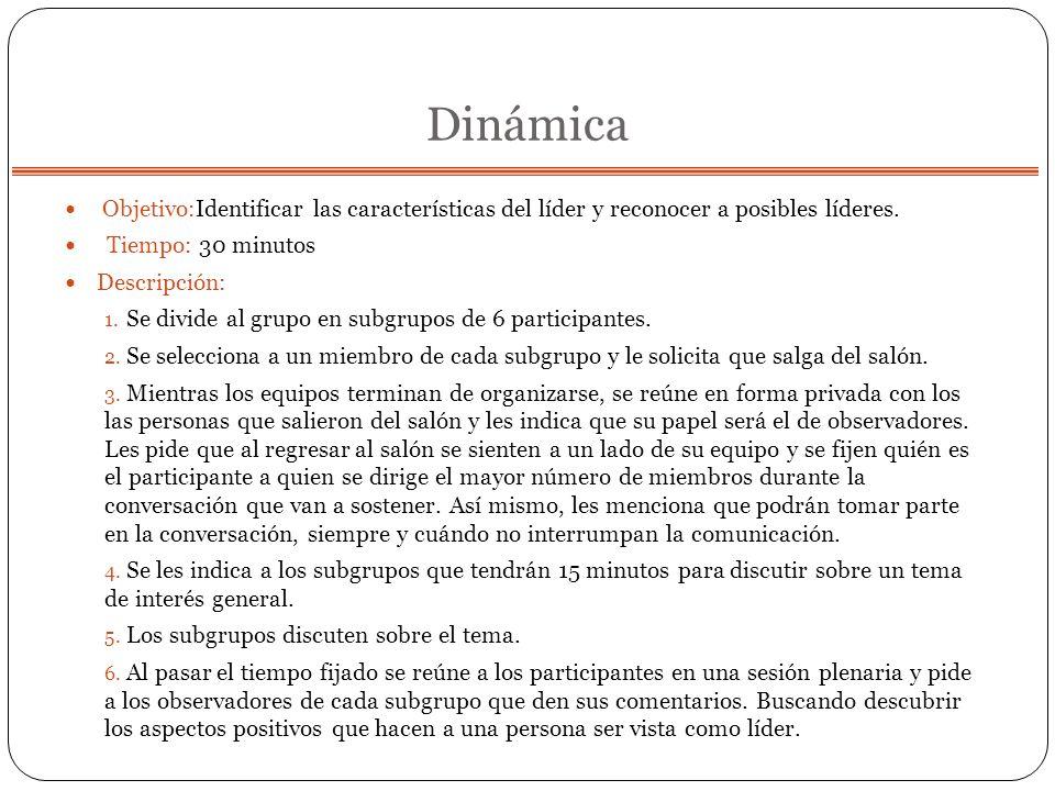 DinámicaObjetivo:Identificar las características del líder y reconocer a posibles líderes. Tiempo: 30 minutos.