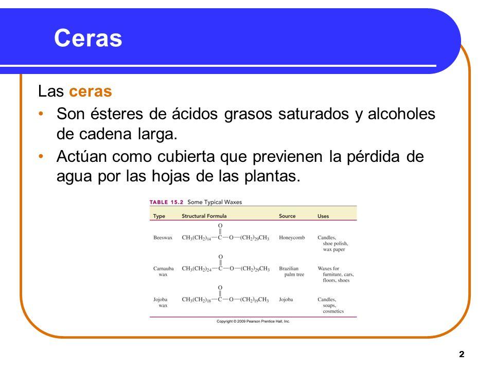 Ceras Las ceras. Son ésteres de ácidos grasos saturados y alcoholes de cadena larga.