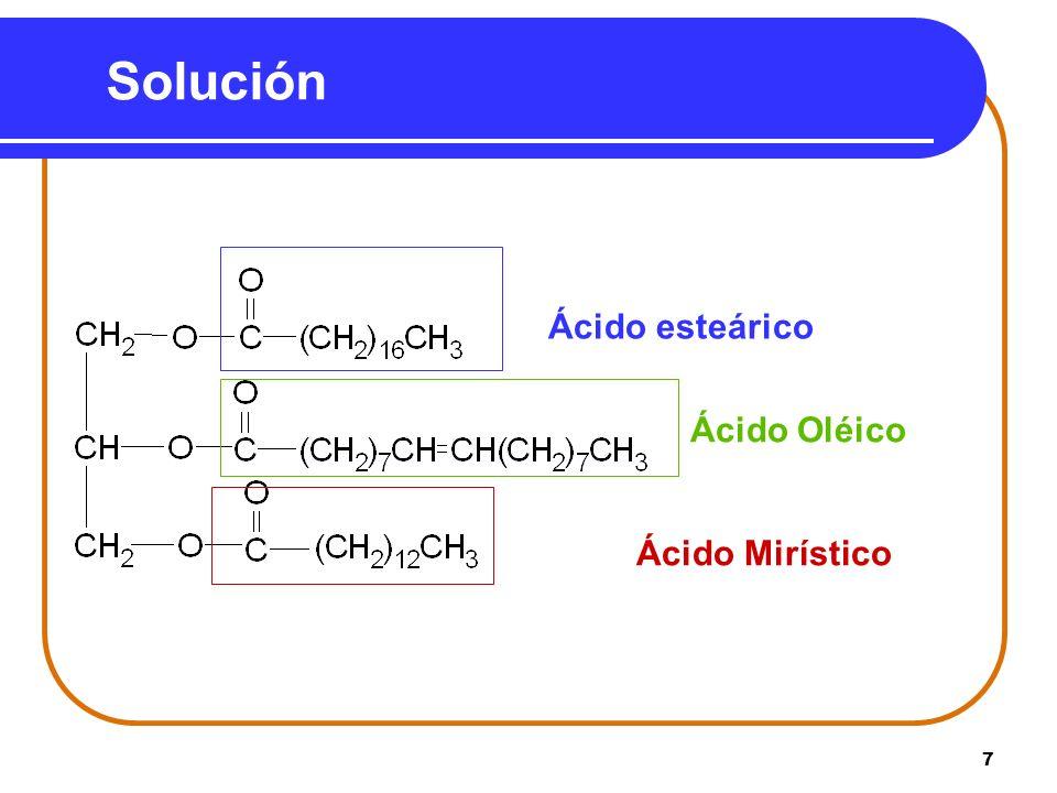 Solución Ácido esteárico Ácido Oléico Ácido Mirístico