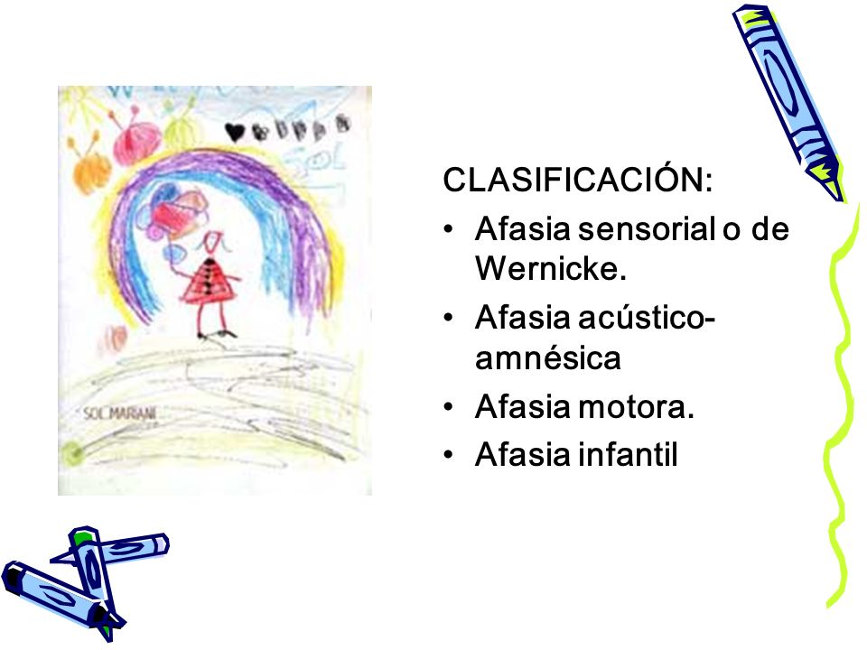 CLASIFICACIÓN: Afasia sensorial o de Wernicke. Afasia acústico-amnésica.