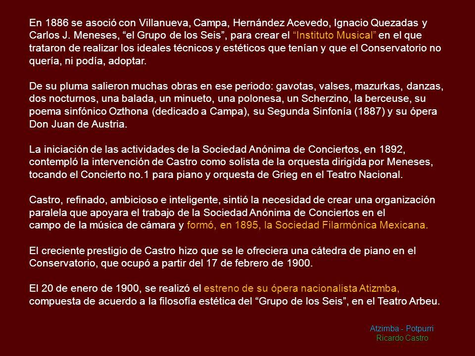 En 1886 se asoció con Villanueva, Campa, Hernández Acevedo, Ignacio Quezadas y Carlos J. Meneses, el Grupo de los Seis , para crear el Instituto Musical en el que trataron de realizar los ideales técnicos y estéticos que tenían y que el Conservatorio no quería, ni podía, adoptar.