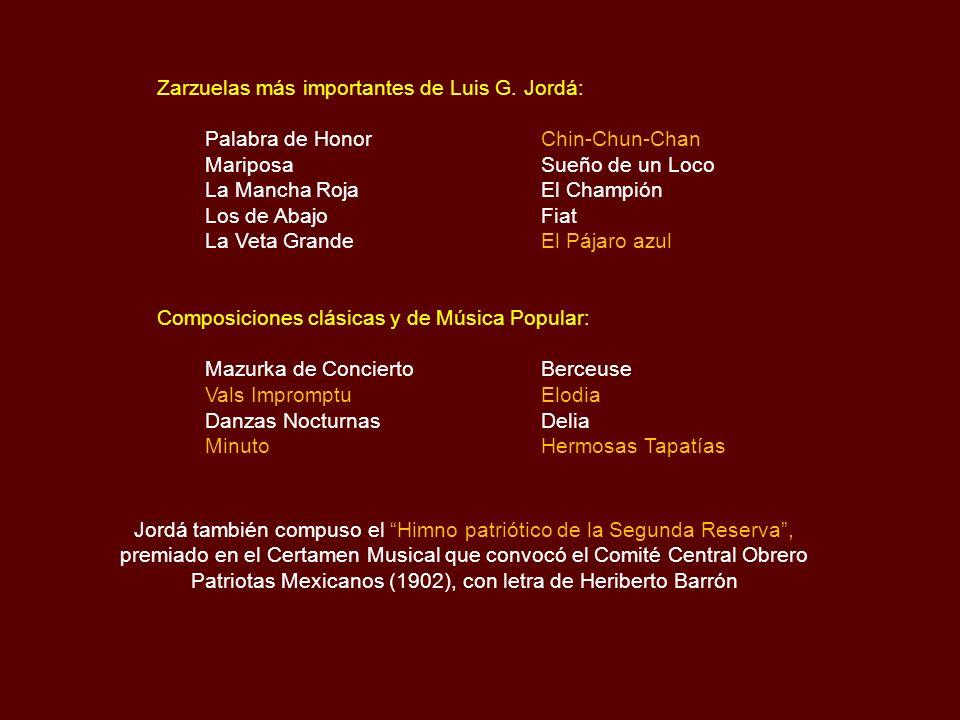 Zarzuelas más importantes de Luis G. Jordá:
