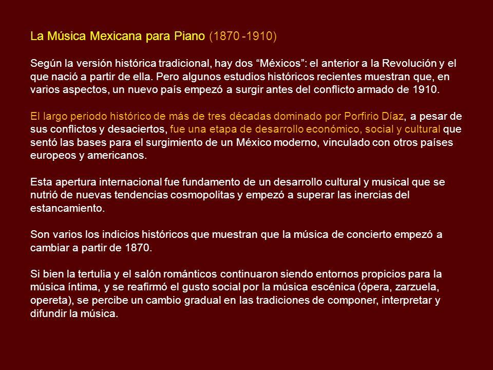 La Música Mexicana para Piano (1870 -1910)