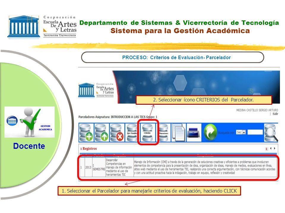 PROCESO: Criterios de Evaluación- Parcelador