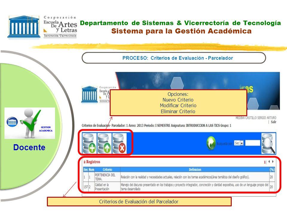 PROCESO: Criterios de Evaluación - Parcelador