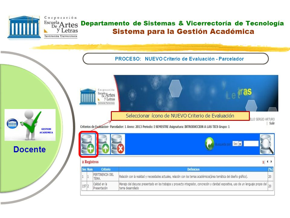 PROCESO: NUEVO Criterio de Evaluación - Parcelador