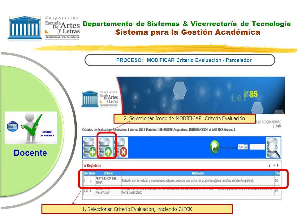 PROCESO: MODIFICAR Criterio Evaluación - Parcelador