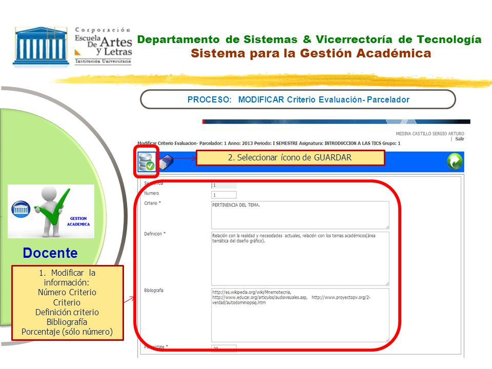 PROCESO: MODIFICAR Criterio Evaluación- Parcelador