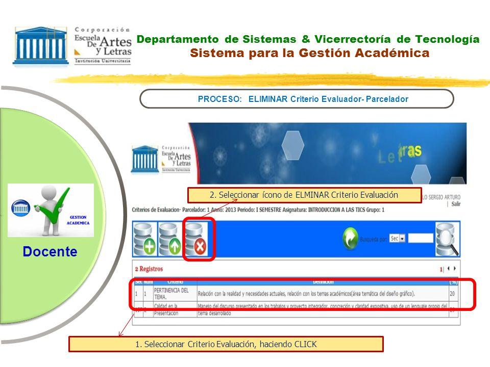 PROCESO: ELIMINAR Criterio Evaluador- Parcelador
