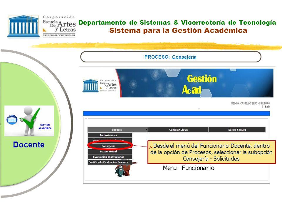 Departamento de Sistemas & Vicerrectoría de Tecnología Sistema para la Gestión Académica