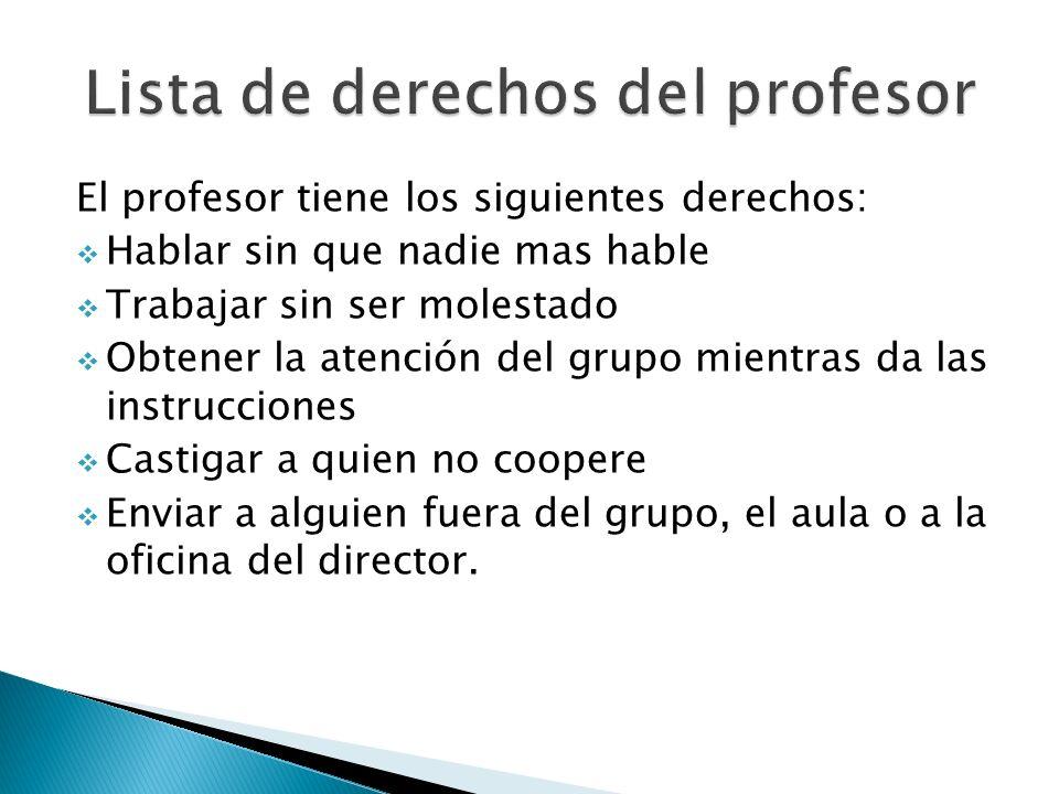 Lista de derechos del profesor