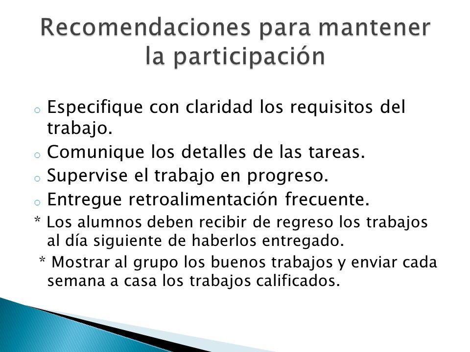 Recomendaciones para mantener la participación