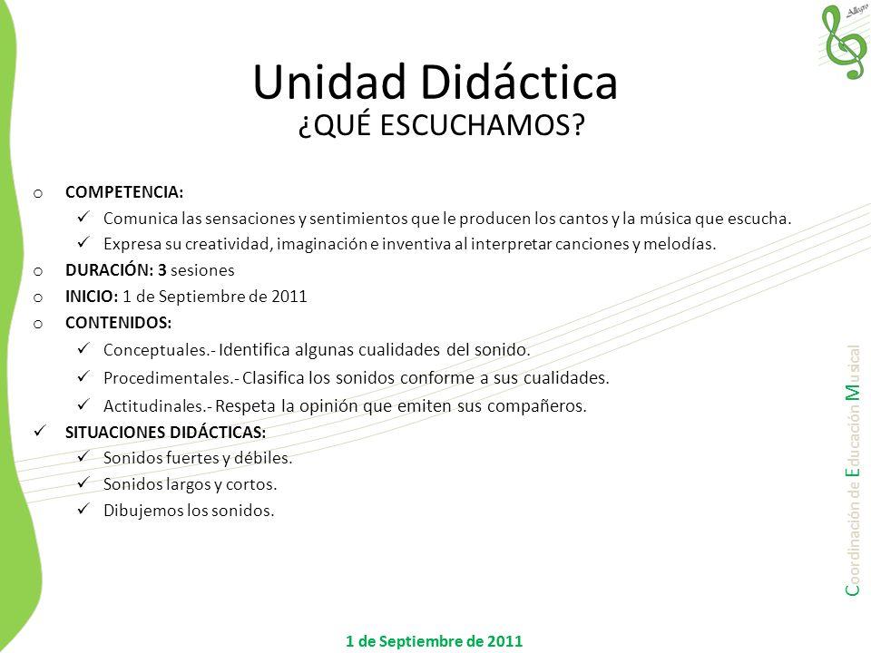 Unidad Didáctica ¿QUÉ ESCUCHAMOS COMPETENCIA: