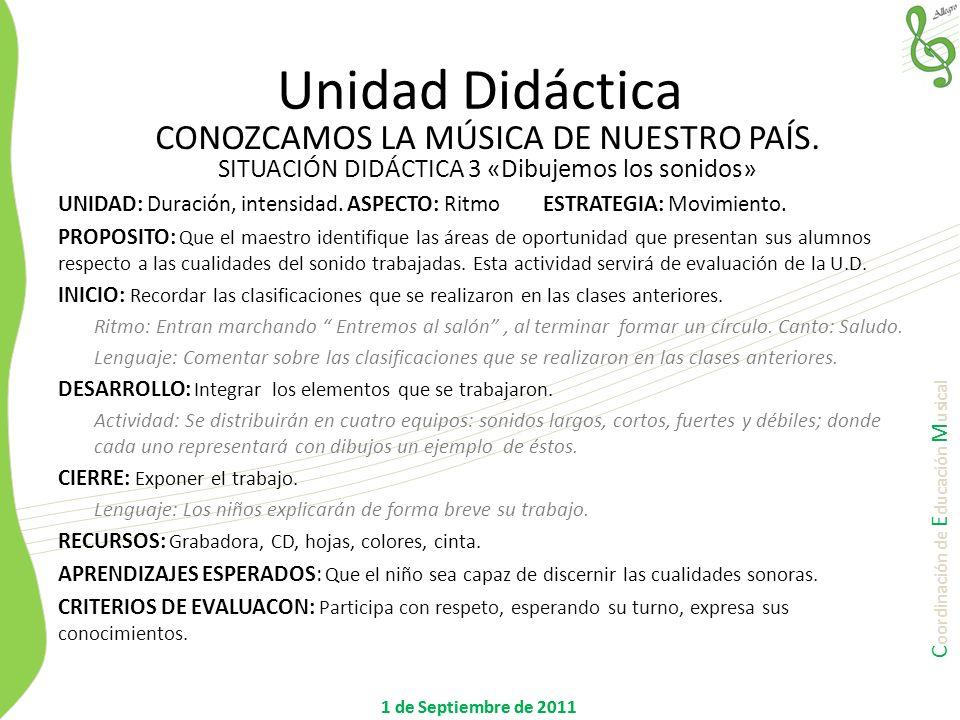 Unidad Didáctica CONOZCAMOS LA MÚSICA DE NUESTRO PAÍS.