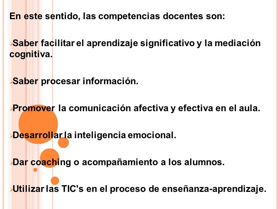 En este sentido, las competencias docentes son: