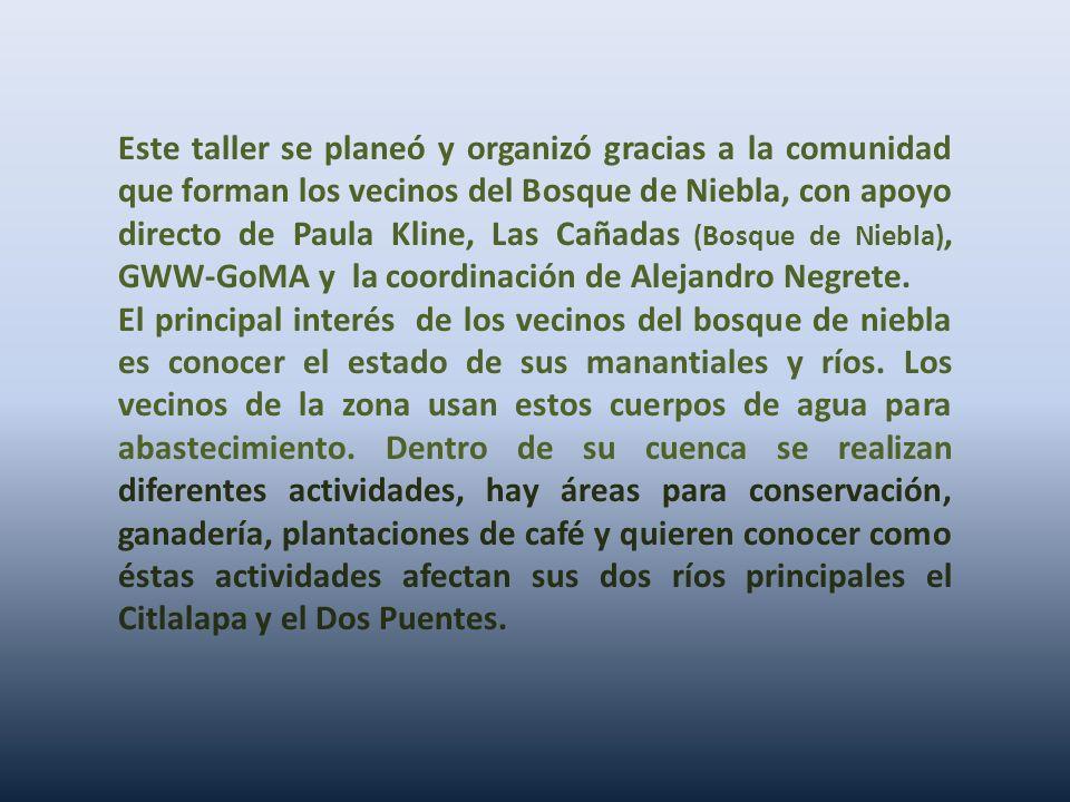 Este taller se planeó y organizó gracias a la comunidad que forman los vecinos del Bosque de Niebla, con apoyo directo de Paula Kline, Las Cañadas (Bosque de Niebla), GWW-GoMA y la coordinación de Alejandro Negrete.