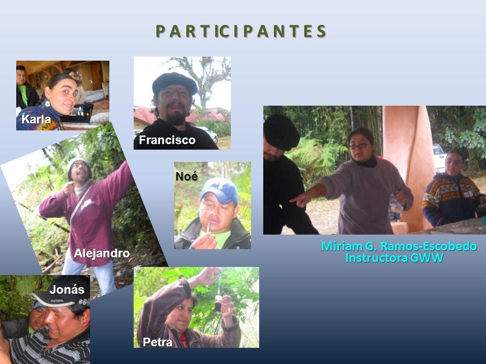P A R T IC I P A N T E S Miriam G. Ramos-Escobedo Instructora GWW